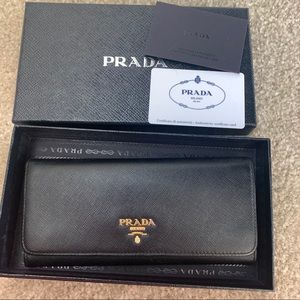 Prada saffiano metal nero long wallet black
